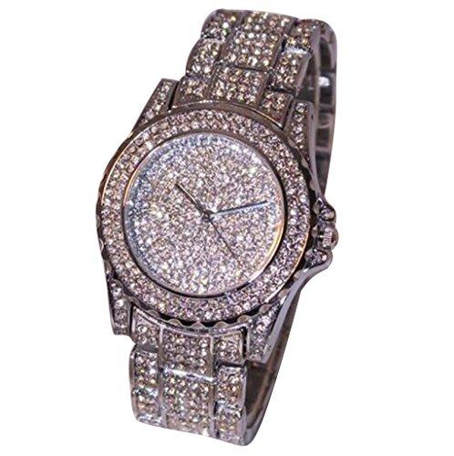 Ouneed® Uhren, Luxus Damen Uhren Strass Keramik Kristall QuarzuhrenKleid Uhr (Silber)