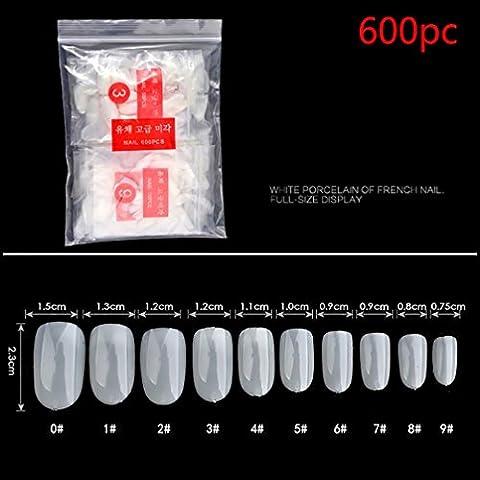 Hunpta 600pcs clair Blanc naturel Faux ongles en acrylique Art Conseils Gel UV utilitaire