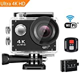 SENDOW 4K Action Kamera WIFI Ultra HD Sport Kamera Action Cam 30M Unterwasserkamera 16MP Helmkamera Motorrad Kamera Wasserdicht mit 170 Grad Weitwinkel, Fernbedienung und 2 Stück Akkus Schwarz
