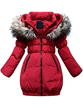 SMITHROAD Kinder Mädchen Winterjacke mit Kunstpelz Tailliert Lang Jacket Wintermantel Mantel Parka Oberbekleidung...