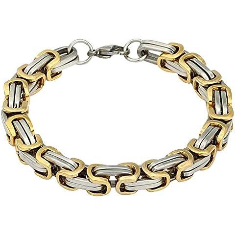 Contever® Acero Inoxidable Bracelet Chain Brazaletes Pulsera de Hombre Trenzada Color Plata y Dorado Pulida 23 cm (L) x 0.8cm