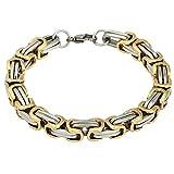 Contever Acero Inoxidable Bracelet Chain Brazaletes Pulsera de Hombre Trenzada Color Plata y Dorado Pulida 23 cm (L) x 0.8cm (W)
