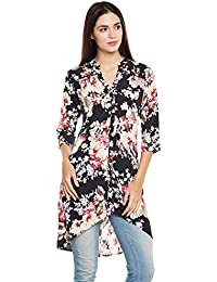 68d06db81d3 Ruhaan's Women's Crepe Black Color Floral Printed High Low Tunic (BS_7100)