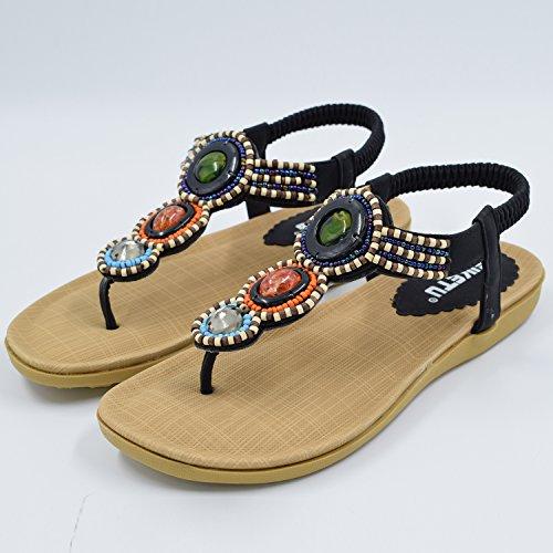 Oasap Femme Sandales Boho Y-strap Faux Diamant Cordon De Serrage Black-4