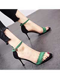 YMFIE Moda semplice scarpe a punta bassa sandali primavera e estate signore tacco quadrato scarpe, 39 EU, B