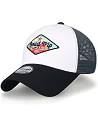 ililily Road Trip Embroidered Snap Back Mesh Trucker Hat Baseball Cap