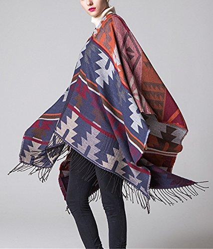 Beunique Femme Poncho Tricot avec Frange Cape Tartan Style Ouverture Echarpe Châle Automne Hiver Couleur 2