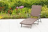 Deckchair PANAMA Alu + Stahl + Geflecht moccafarben, klappbar
