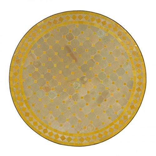 Casa Moro Mediterraner Gartentisch marokkanischer Mosaiktisch Ø 80 cm rund gelb terrakotta mit Gestell H 73 cm Kunsthandwerk aus Marrakesch | Dekorativer Balkontisch Bistrotisch Beistelltisch MT3091