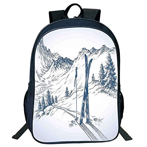 HOJJP Schultasche Suitable for Primary School Backpack,Winter Decorations,Sketchy Graphic of a Downhill with Ski s in Snow Relax Calm View,Blue White,for Kids,