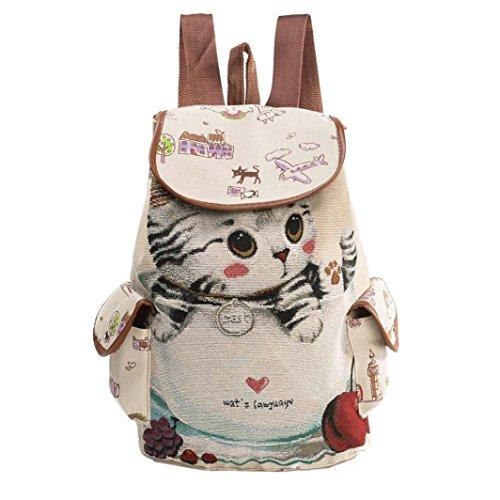 Damen Mädchen Segeltuch Rucksack, zahuihuiM Netter Katzen-Druck Drawstring Rucksack, Große Reisetasche Einkaufstasche A