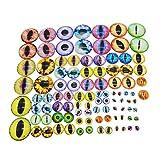Julie Wang Cabochons für Puppenherstellung und Schmuck, verschiedene Größen, rund, Glas, Drachenauge, 100 Stück