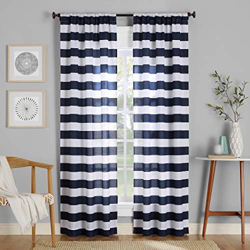 No. 918 Glendale Stripe Semi-Sheer Rod Pocket Curtain Panel, 40