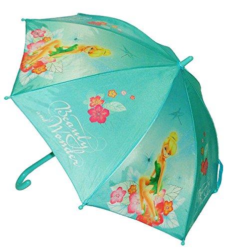 Unbekannt Regenschirm  Disney Fairies Tinkerbell  - Kinderschirm Ø 80 cm - für Kinder Stockschirm Schirm - Fairy Feen - Mädchen türkis - Kinderregenschirm Blumen Fee