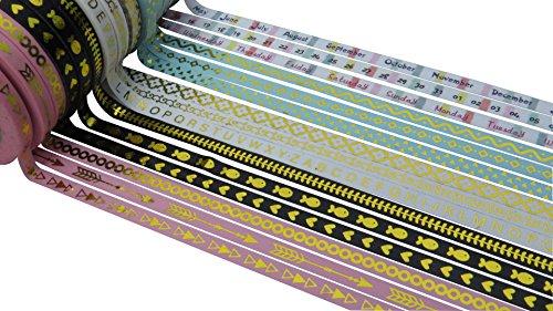 15 Roll Skinny Washi Tape Set 5mm x 10 Metre Rolls