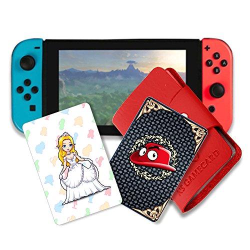 NFC Tag Spielkarten für Super Mario Odyssey Switch - 10 Stück mit Kartenhalter (Gold Mario Amiibo)