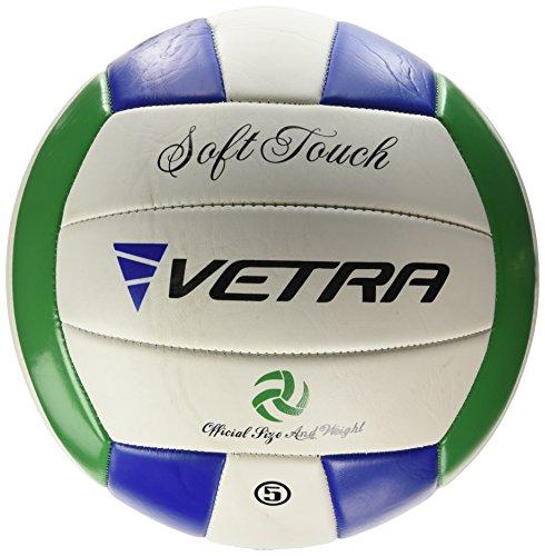 VETRA pallavolo soft Touch Palla Volley ufficiale Size 5 Giallo / Blu / Bianco o Verde / Blu / Bianco all'aperto al coperto spiaggia palestra Gioco Palla nuovo (Verde / Blu / Bianco)