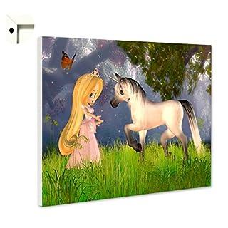 b-wie-bilder Magnettafel Pinnwand Memoboard Magnettafel Motiv Kinder Kleine Fee & Pferd (60 x 40 cm)