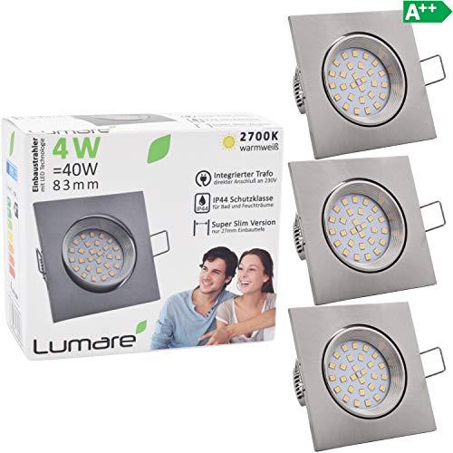3x Lumare Slim Line Einbaustrahler IP44 mit nur 27mm Einbautiefe! Deckenspot mit 4W 400lm LED Leuchtmodul AC 230V 120° Deckenlampe Einbauspot warmweiß (3er silber/quad) -