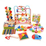 Facethoroughly Wooden Bead Maze Toy, 14Pcs Wooden Baby Toddler Toys Mathematic Counting Sticks Cube Block Jigsaw Puzzles EducationalToys