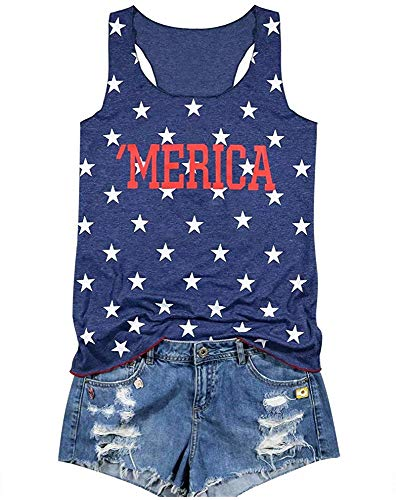 LAMOSKY Merica Star Women's Graphic Letter Vest Casual Tank Top T-Shirt July 4 Racerback Cami Shirt Large - Star Racerback Tank Top