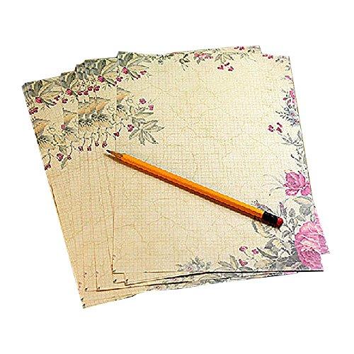EXQUILEG 18.5x26cm Blatt Briefpapier Schreiben Stationäre Paper Motivpapier Schreibpapier Set Vintage Retro Blumen altes Papier mit Motiv für Breif (8 verschiedene Designs) (10psc Rosa)