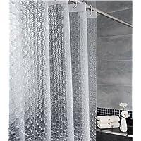 TIANT UK-Cortinas de ducha Cortina de ducha translúcida mate 3D del cuarto de baño PEVA tridimensional ( Color : Claro , Tamaño : 200*220cm )