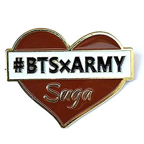BTS Bangtan Jungen Jimin V Herz Form Name Brosche Pins Badge für Kleidung Hat Rucksack Suga