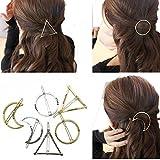 cuhair Haarnadeln, minimalistische zierliche Metallhaarnadeln, gold und silber, Geometrische Formen, Metall-Haarspange, Kreis-, Dreieck- und Mondform