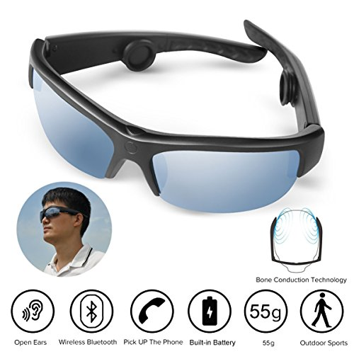 Iphone Hands Free-headset (AcTek Knochenleitung Kopfhörer Drahtlose Bluetooth Lauf Hands-Free-Kopfhörer mit NFC Stereo Kopfhörer Sport Headset für iPhone und Android)