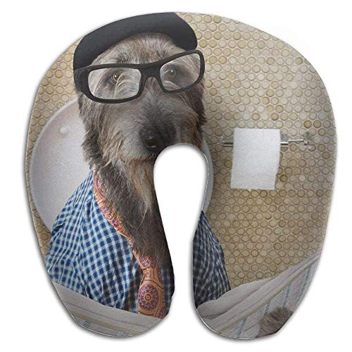 Osmykqe Humorous-Irish-Wolfhound Pattern U Type Pillow Neck Pillow -