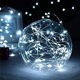 Malayas Guirlande Lumineuse Micro LED étoilées 3M Blanche Froide Piles Incluses Chaîne Eclairage Lumières de Guirlande de Luciole en Cuivre Etanche Décoration Noël Fêtes Mariages
