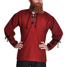 Piratenhemd mit Stehkragen Gothic Mittelalter rot 1605