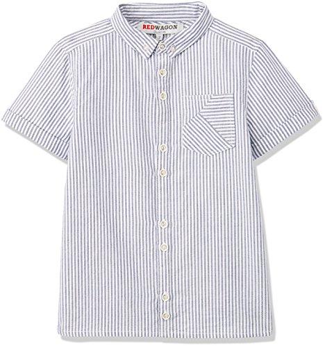 RED WAGON Jungen Hemd Ticking Stripe Shirt, Weiß (White), 134 (Herstellergröße: 9 Jahre) (Brusttasche Punkt-kragen-hemd)