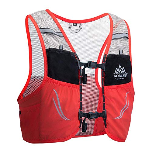 UTOBEST Ultra Running Chaleco de Piel Avanzada 2.5 Set Ligero hidratación Pack para Trail Running, 2.5 L, Unisex, Color Rojo, tamaño S/M