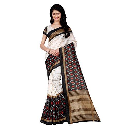 Craftsvilla Women's Bhagalpuri Silk Saree Black and white color with Blouse Piece