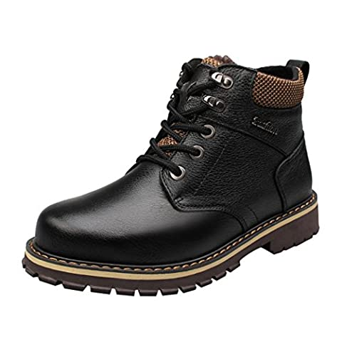 WALK-LEADER Mens Premium Leather High Top Lace Up Fur-lined Casual Boots Black 9 UK