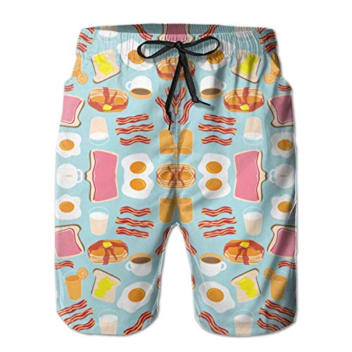 Mens Funny Breakfast Food Badehose Quick Dry Schwimmen Trucks für Männer Big und Tall Beach Shorts - Tall Big And Männer-bademode