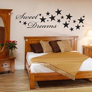 INDIGOS WG10187-90 Wandtattoo w187 Sweet Dreams Spruch Wandaufkleber 80 x 26 cm, silber