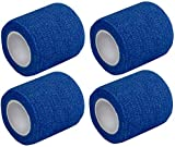 4 St. Kohäsive Pflaster selbstklebend Fixierbinden 5 cm x 4 m verschiedene Farben von Medi-Inn (Blau)