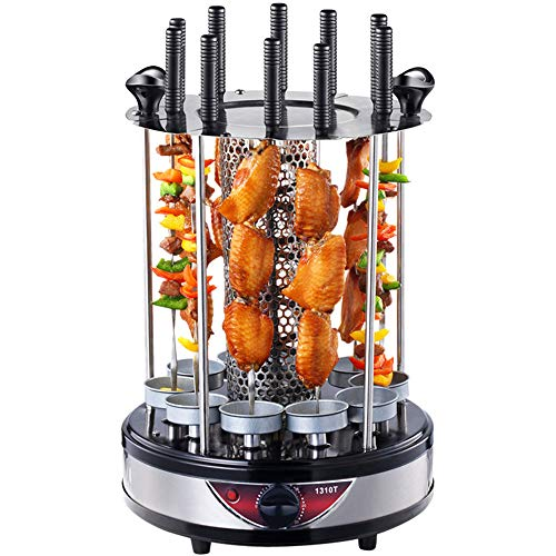 LPP Rotisserie Grill Timing-Funktion 360 ° Automatische Rotating Barbecue 10 String Kebab Brems Thermostat Backautomaten 1350W, Silber