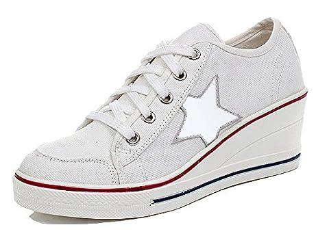 Padgene Baskets Mode Compensées Sneakers Tennis Chaussures Casuel Toile Femme