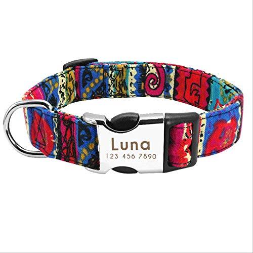 UDstrap Custom Pet Dog Collar Personalized Nylon Collar Perro Targa Tag Collari Incisi per Media Cani Grandi Pug Francese Bulldog l Rosso Rosa