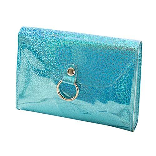 ☞【Pu-material】 solide muster, cover-verschluss, frauen laser mini-kette schultertasche handtasche lnclined schulterklappe tasche (Blau)