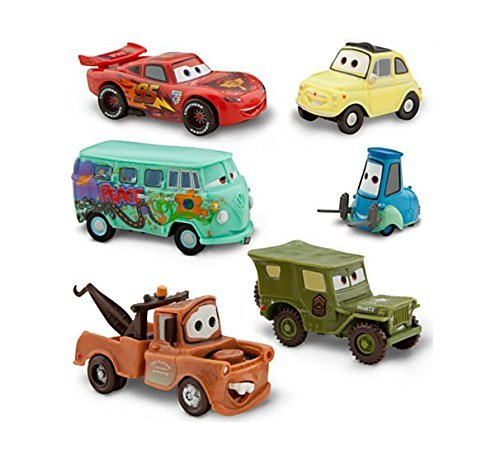 Image of Disney Pixar Cars 2 Pit Crew 6 Pack of Luigi, Guido, Sarge, Fillmore, Lightning McQueen and Mater (PVC, Plastic)
