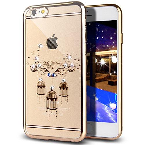 Custodia iPhone 6S Plus,Custodia iPhone 6 Plus,Custodia Cover per iPhone 6 / 6S Plus, ikasus® Placcatura in oro rosa Lucido di cristallo di scintillio strass Diamante Glitter Plating Rose Golden iPhon floreale gabbia per uccelli