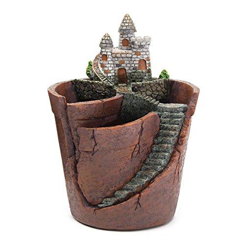 KINGDUO Giardino Del Cielo In Vaso Micro Paesaggio Carne Pianta Pentole Castello Resina Decorazione