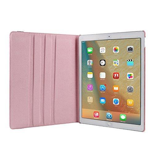 Hülle für iPad Mini 4 7.9 inch, TechCode 360 Grad Rotation Stand PU Ledertasche Schützende Flip Folio Abnehmbar Weiche Gummiabdeckung Hülle für Apple iPad Mini 4 7,9 Zoll (iPad Mini 4, Lila) Rosa