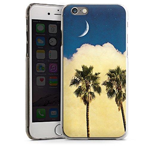 Apple iPhone 4 Housse Étui Silicone Coque Protection Palmiers Nuage Croissant de lune CasDur transparent