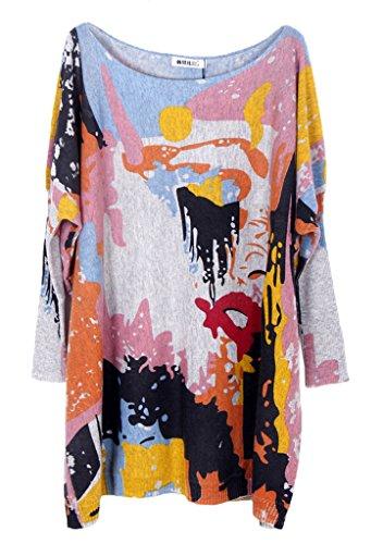 Bigood Pull Grande Taille Femme Tricoté Tops à Manche Longue Sweat-shirt Col Rond Imprimé Gris #Q